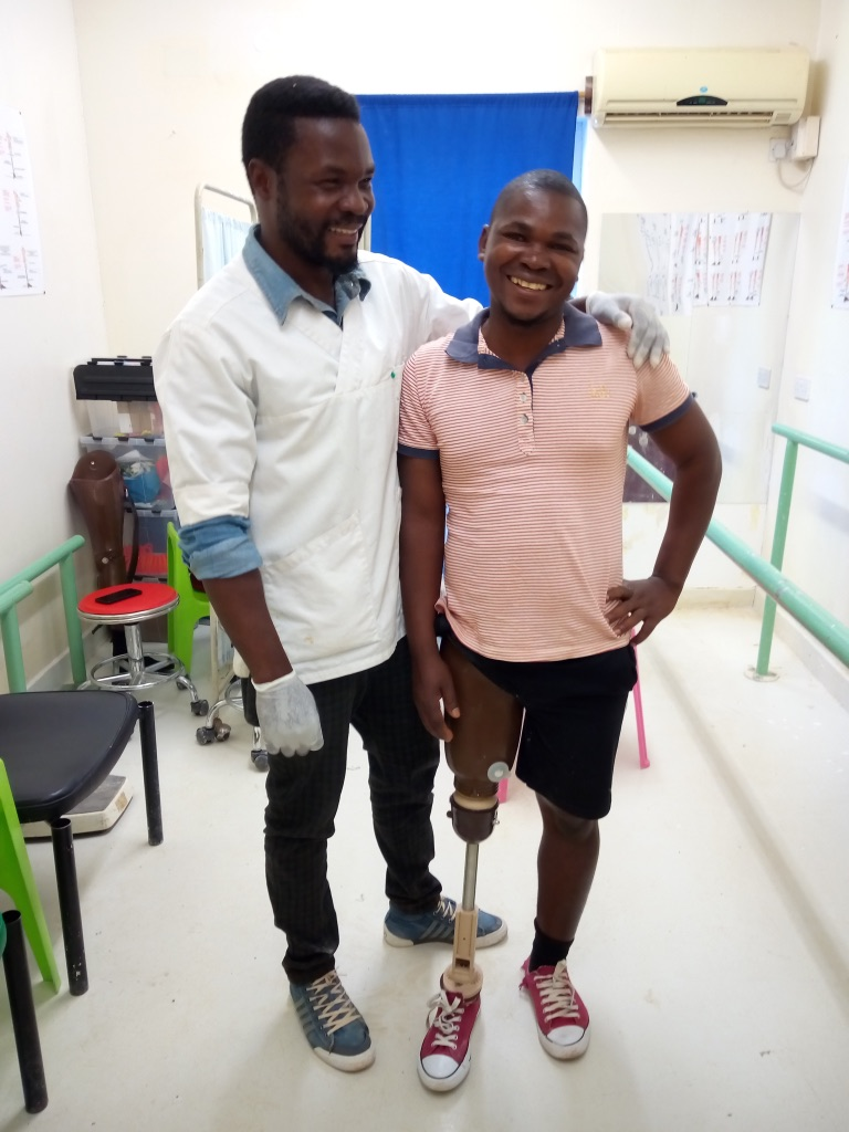 Felix Banda With His Prosthetist
